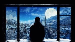 Один. Смотрю в замерзшее окно .